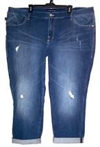Rock and Republic Jeans 24 Stretch Distress Denim Crop Capri Plus Size 2... - $23.00