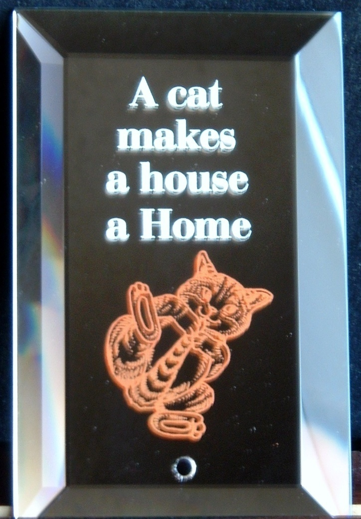 Mirrored Plaque Musical Brass Stand A Cat Makes A House A Home Collectible Decor