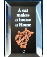Mirrored Plaque Musical Brass Stand A Cat Makes A House A Home Collectib... - $12.95