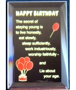 Mirrored Plaque Musical Wood Stand Happy Birthday Theme Humor Home Decor... - $14.95