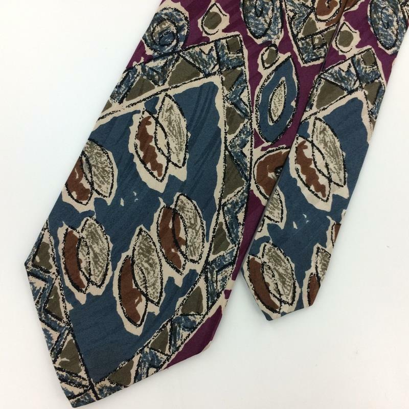 KENNETH COLE Made In Italy ITALY ABSTRACT PURPLE Brown Silk Necktie Ties I8-350 image 2