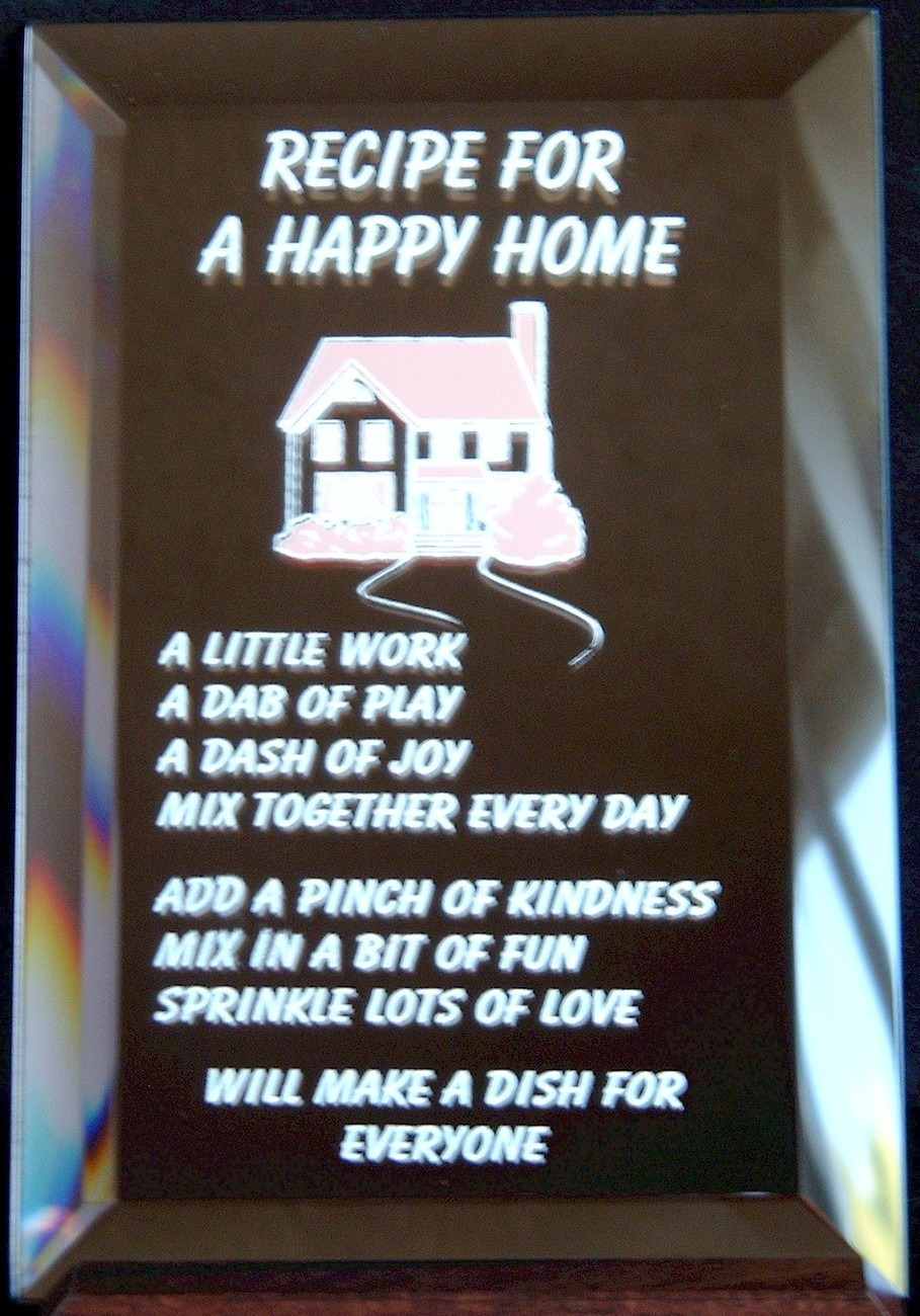 Mirrored Plaque Musical Wood Stand Recipe For A Happy Home Collectible Decor
