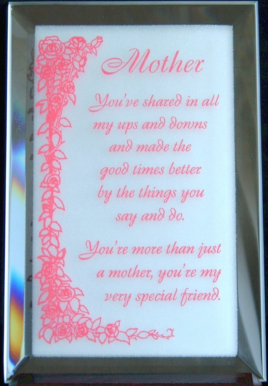 Mirrored Plaque Musical Wood Stand Mother Theme Collectible Decorative