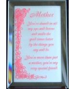 Mirrored Plaque Musical Wood Stand Mother Theme Collectible Decorative - $14.95