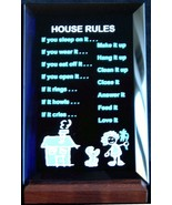 Mirrored Plaque Musical Wood Stand House Rules Collectible Home Decorative - $14.95