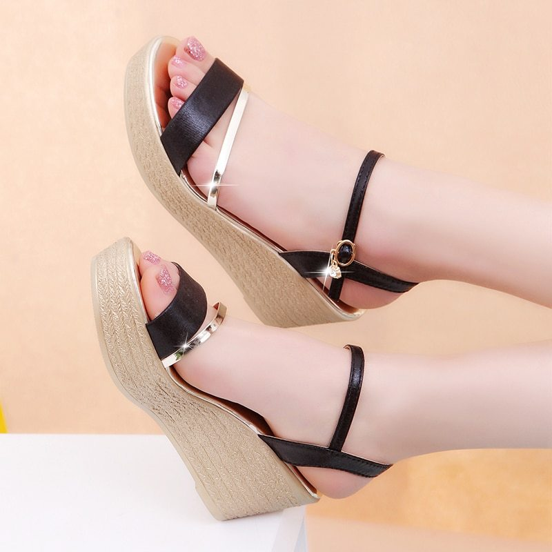 3fb9606fcd18 Summer Womens Ankle Strap Peep Toe Wedge and similar items. Women sandals  summer 2018 fashion quality comfortable bohemian women sandals for lady  shoes high