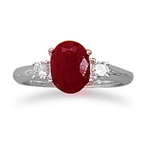 Rough-Cut Faceted Ruby and CZ Silver Ring - $54.95