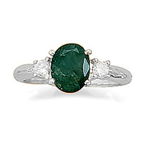 Rough-Cut Faceted Emerald and CZ Ring - $54.95