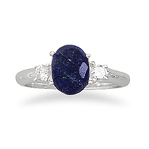 Rough-Cut Faceted Sapphire and CZ Ring - $54.95
