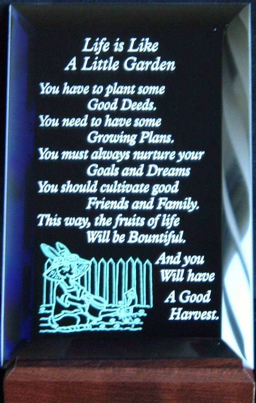 Mirrored Plaque Musical Wood Stand Life Is Like A Little Garden UNBOXED