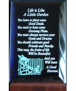 Mirrored Plaque Musical Wood Stand Life Is Like A Little Garden UNBOXED  - $13.95