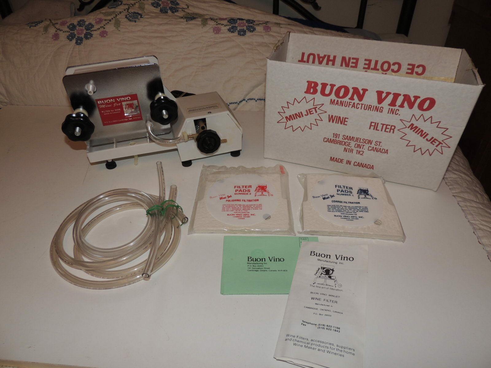 BUON VINO MINI-JET WINE FILTER Model MJT93089 Used Working w 2 packs Filters