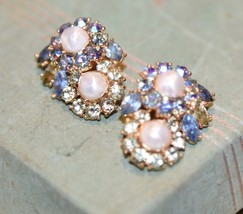 Vintage Trifari Clip  Earrings Faux Pearl PRONG SET  Rhinestone BLUE LT.... - $49.99