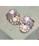 Vintage Trifari Clip  Earrings Faux Pearl PRONG SET  Rhinestone BLUE LT.... - $49.99