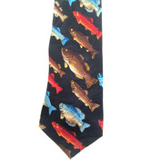 VTG Black FISH fishing neck tie CULINARY CLASSICS 100% SILK Red Blue Brown - $36.62