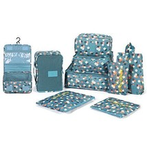 DOKEHOM 9 Set Packing Cubes 2 Colors Travel Organizers Blue Flower - £25.46 GBP