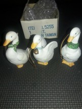 (3) White Swan Ceramic Christmas Ornaments Holiday Homco Brand 5255 - $14.84