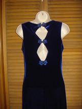 Women's Junior Blue Velvet Evening Formal Gown Prom Dress Sz 9/10 Side Slit - $44.55