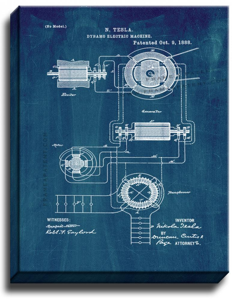 Primary image for Tesla Dynamo Electric Machine Patent Print Midnight Blue on Canvas