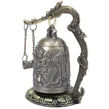 Zinc Alloy Vintage Style Bronze Lock Dragon Carved Buddhist Bell Chinese Geomant image 3
