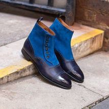 Handmade Men's Blue Suede and Leather Two Tone Buttons Boots image 3