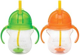 Munchkin Click Lock 7 Ounce Weighted Flexi-Straw Cup, 2 Pack, Green/Orange - $19.43