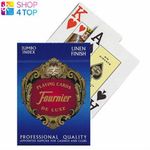FOURNIER 818 PLASTIC COATED POKER PLAYING CARDS DECK BLUE JUMBO INDEX NEW - $5.69