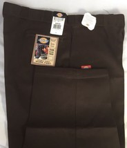 New Dickies Men Double Knee Work Pants 50x30 Multi Use Pocket Scotchgard Brown - $28.67