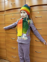 KID'S HAT SCARF SET HANDMADE IN EUROPE MERINO WOOL UNISEX HOLIDAY GIFTS ... - $89.00