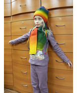KID'S HAT SCARF SET HANDMADE IN EUROPE MERINO WOOL UNISEX HOLIDAY GIFTS ... - £49.00 GBP