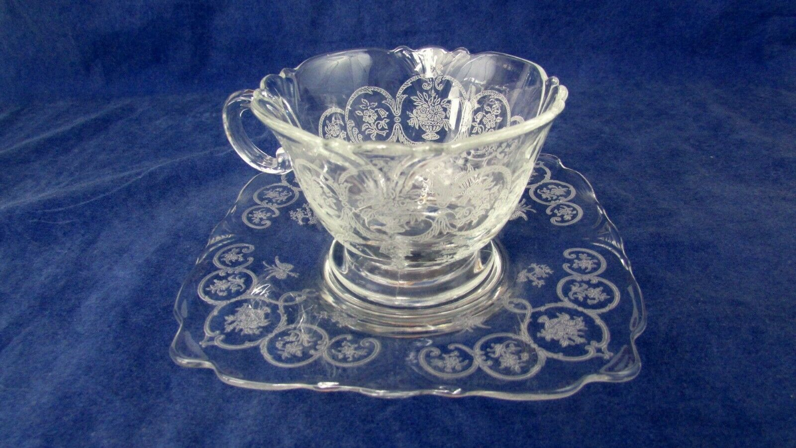Primary image for Heisey Glass Chintz etched cup and saucer empress blank Square Plate Set of 3