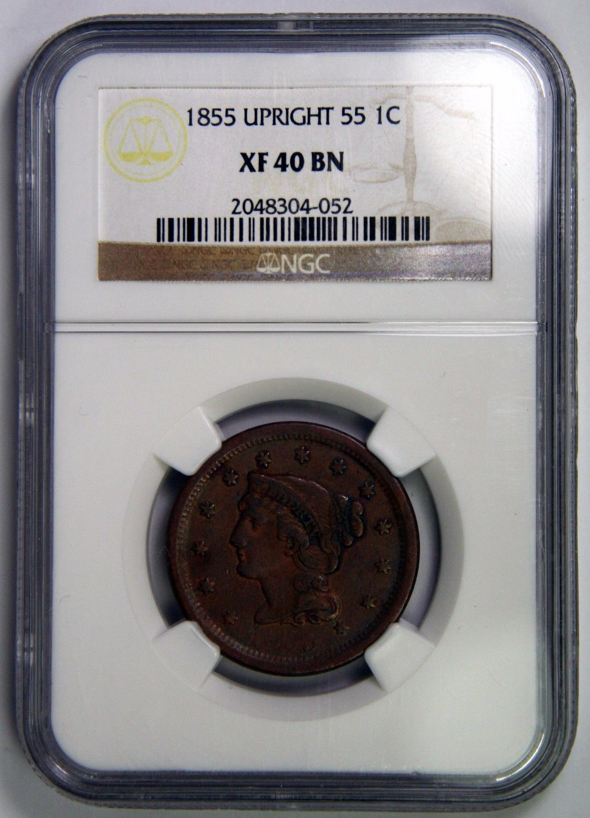 1855 Upright 55 Large Cent Liberty Braided Hair Head Coin XF40 NGC Lot # SR 915