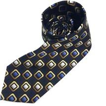 George Silk Mens Neck Tie Blue Gold Gray Black Geometric Checkered Long ... - $9.89