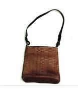 vintage FOSSIL brown woven leather purse handbag shoulder bag #75082 - $59.40