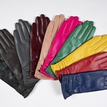 Genuine Leather Long Gloves Goatskin Mittens Women Fashion Brand Red For... - $49.99