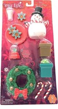 My Life Holiday Decorations 12 Piece Wreath Play Set Snowman Glitter Candy Canes - $15.20