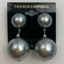 Vintage Chunky Blue Faux Pearl Dangle Bead Earrings Designer Style Pierc... - $14.80