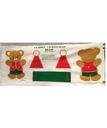 Vintage Cuddly Bear Frabic Panel Pillow Pattern Christmas Stuffed Holiday - $10.89