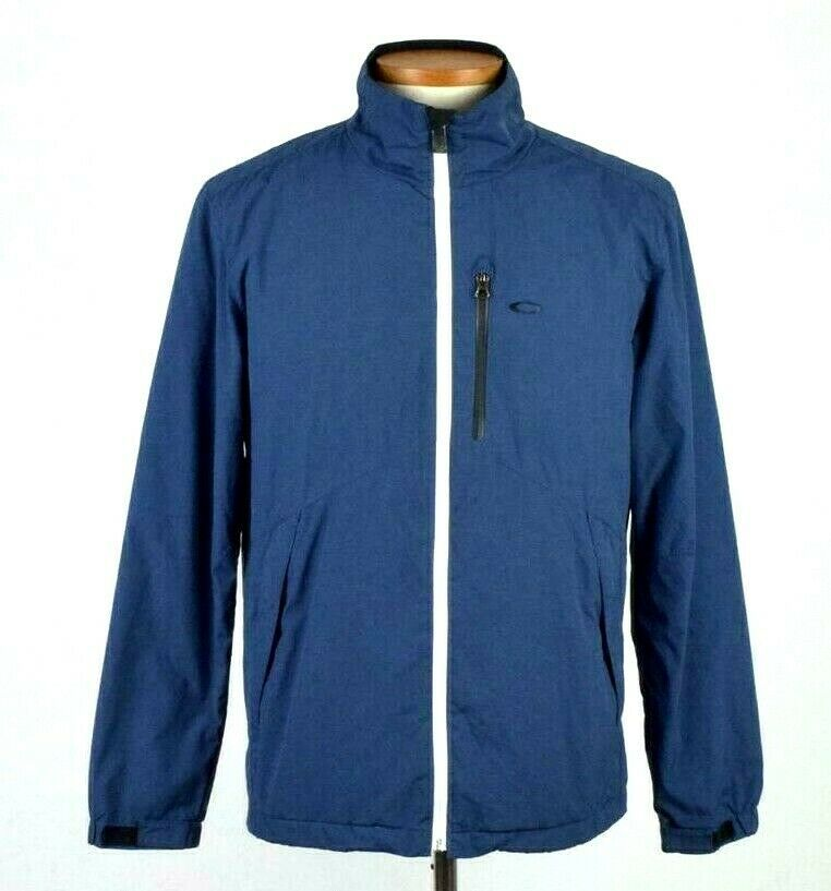 Primary image for Oakley Blue Soft Shell Jacket Zip Bomber Lightweight Hike Camp Trail Mens Size M