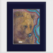 "Helen Simeonoff Native Alaskan Matted Watercolor Art Print ""Kodiak Bear""... - $19.00+"
