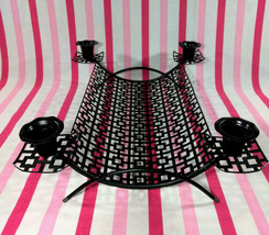 Mid Century Atomic Black Metal Wire Console Centerpiece with 4 Candle Ho... - $20.00
