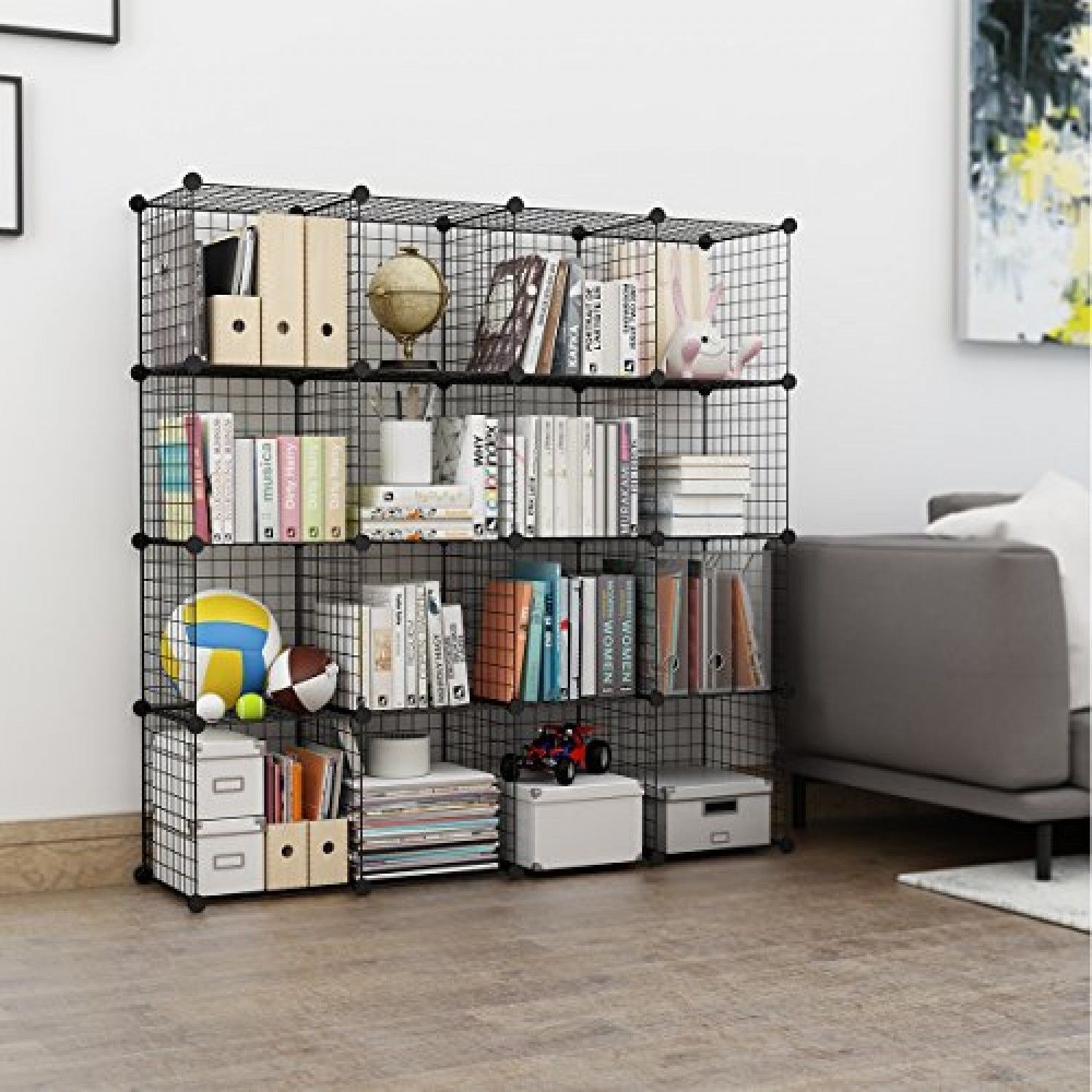 6 Cube Wire Grid Bookcase Modular Storage Shelving Rack Toys Organizer