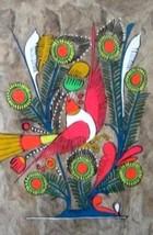 Bird Bark Painting Mexico Mexican Abstract Folk Art Hand Painted Bamboo ... - $61.74