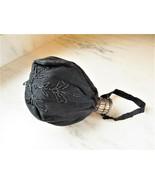 Antique Victorian Black Beaded Handbag W/ Expandable Necklace C2832 - $91.82