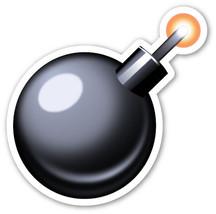 Emoji Bomb shaped vinyl sticker 100mm or 150mm app iPhone drop the  - $3.00+