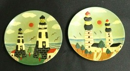 "Lot of 2 Vintage Lighthouse Saucer Plate Style Refrigerator Magnets 4"" P... - $12.58"