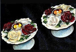 Pair of Vintage floral Candle Holders AA19-1428 image 2