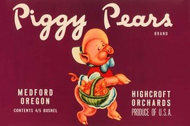 Piggy Pears Crate Label - Art Print - $19.99+