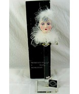 Seymour Mann Art Deco Collectible Doll Head On Stand Porcelain Silver Do... - $34.64