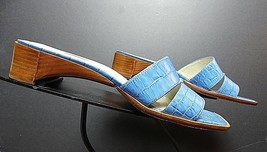Talbots French Blue Faux-Croc Embossed Leather Slide Sandal Sz. 7.5B MINT! - $39.11